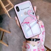 火烈鸟苹果X手机壳新款iphone6透明玻璃壳7plus全包8女挂绳抖音潮