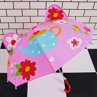 儿童小雨伞迷你小伞 儿童伞带耳朵玩具伞小雨伞幼儿园儿童小伞迷你男女宝宝卡通遮阳伞 茶壶 玻纤维2-6岁