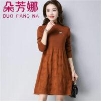妈妈装毛衣裙中长款宽松大码打底衫中老年女装针织衫长袖秋冬季厚
