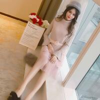欧美女装针织连衣裙秋冬装2018新款女马甲长袖毛衣有女人味的两件套装裙子