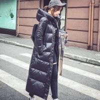 羽绒服女中长款2019冬韩版修身亮面加厚黑色长款过膝