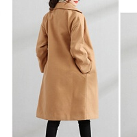 长过膝夹棉长款大衣冬季加棉加女装毛呢外套宽松上衣冬装茧型大衣