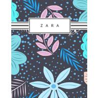 【预订】Zara: Personalized blue flowers sketchbook with name: 1