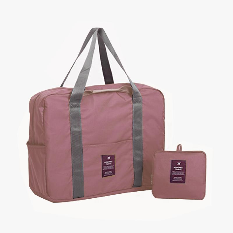 当当优品 旅行折叠收纳袋 单肩手提包 大容量可套拉杆行李箱登机包 粉色当当自营 可折叠设计 大容量 可手提 单肩 挂在行李箱拉杆上