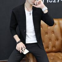 2018春秋新款男士针织开衫青年韩版修身纯色毛衣带扣子针织外套潮