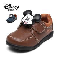 鞋柜/迪士尼 米奇魔术贴小童休闲皮鞋男童鞋
