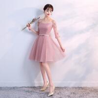 伴娘礼服短款2018新款韩版春季伴娘服姐妹裙中长款修身显瘦晚礼服 短款A S