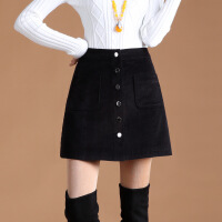 高腰短裙装女春秋a字灯芯绒半身裙显瘦气质裙子单排扣包臀裙半裙