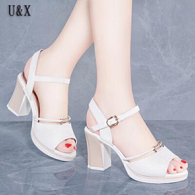 UX女鞋粗跟凉鞋女2019夏季新款韩版百搭罗马中跟时尚仙女风女士高跟鞋女