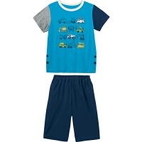 夏季男女童宝宝护肚设计短袖T恤+短裤居家服套装睡衣E01784