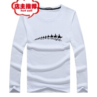 2019男士长袖T恤秋季潮流休闲宽松运动上衣男新款白色体恤打底衫