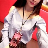 iPhone7plus手机壳苹果XS MAX相机创意挂绳7P女网红韩国潮牌XR