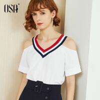 【过年3折价:70.4】OSA欧莎白色雪纺衫女2019新款夏宽松短袖露肩上衣气质心机小衫