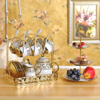 描金水具套装客厅家用欧式陶瓷杯子耐热冷水壶凉水壶水杯具带架子