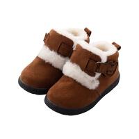 儿童棉鞋男软底鞋加厚加绒女宝宝保暖毛毛鞋1-3岁