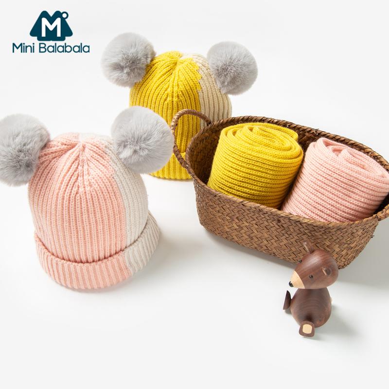 迷你巴拉巴拉儿童帽子围巾两件套2019冬新款撞色可爱针织帽子围巾