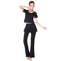 广场舞服装套装瑜伽服女舞蹈健身服装拉丁舞圆领短袖套装