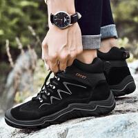 冬季新款雪地靴男高帮鞋加绒马丁靴男士靴子休闲登山鞋短靴