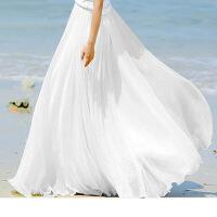 品质款2018夏季雪纺长裙双层半身裙飘逸拖地8米大摆裙度假仙女裙