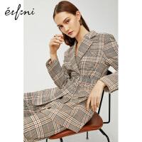 伊芙丽西装外套女2020新款春装复古韩版英伦风格子休闲西服女上衣