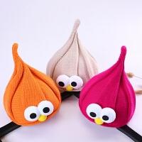 韩版男童女童秋冬季保暖针织婴儿儿童尖尖帽大眼睛可爱萌帽子