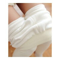 秋冬奶白色打底裤连裤袜加绒加厚保暖裤女外穿竖条纹高腰显瘦大码