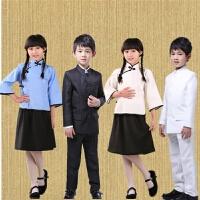 儿童中山装民国学生装女五四青年服中小学生合唱演出国学服表演服 粉红色 180cm