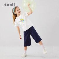 【2件3折价:89.7】安奈儿童装女童网红套装2020新款中大童短袖套装女孩夏天两件套