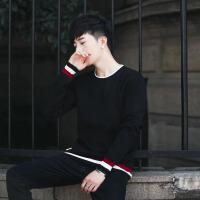 春秋新款男士毛衣韩版纯色羊毛衫修身个性圆领针织衫打底男士毛衣