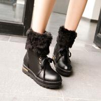 彼艾2017秋冬季甜美学院风厚底平跟短靴 系带保暖雪地靴 加厚毛毛女式靴子