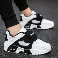 韩版黑白男女孩板鞋皮面男士休闲鞋秋季大童运动鞋初高中学生气垫鞋