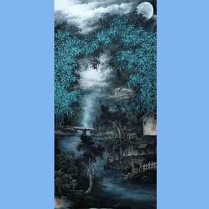 中国艺术学会会员艺宝在线特聘画家,越世阁画院院长易剑赋(月夜静图)52
