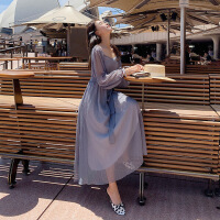 欧美女装沙滩裙女蓝色网纱连衣裙女夏季一字肩沙滩裙海边度假仙森系仙女中长裙子 蓝色