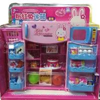 过家家小伶玩具厨房仿真家电双开门冰箱洗衣机粉红兔女孩礼物