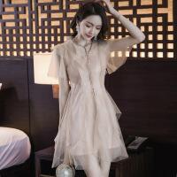 2019新款女装流行夏天小裙子夏季气质仙气超仙女很仙的网纱连衣裙 杏色