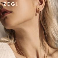 女士气质简约耳环圆圈款圆环耳扣个性耳饰品小众设计感耳圈