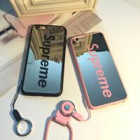 苹果7plus挂脖子手机壳6s硅胶带挂绳iphone6plus防摔5s卡通吊绳套 iPhone7 PIUS 黑色