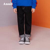 【3件3折:89.7】安奈儿童装男童秋季新款时尚宽松版型弹力牛仔裤