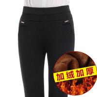 【女士加绒加厚休闲裤】秋冬中年女士加绒长裤女裤加厚弹力休闲裤