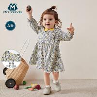 迷你巴拉巴拉女童连衣裙2020春装新品法式优雅印花裙子宝宝公主裙