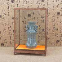 红木木雕玻璃罩摆件宝笼文玩工艺品古董佛像展示防尘定制实木底座