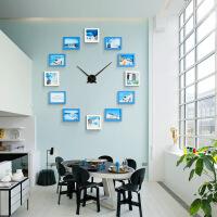 大气简约创意相片墙挂钟实木客厅静音钟表现代装饰个性时尚挂表 25英寸