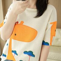 纯棉短袖针织衫卡通印花小鹿精梳棉ins风时尚上衣
