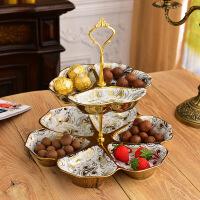 欧式干果盘客厅坚果盘家用现代创意糖果盘双层下午茶陶瓷点心盘子