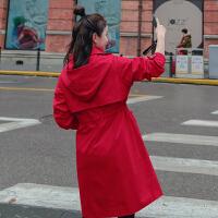 2019春季新款女士风衣中长款韩版休闲学生bf风连帽宽松外套女红色
