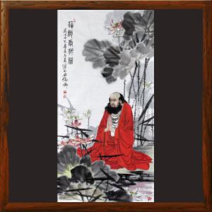 书法国画《莲池修禅图》李志远-一级美术师ML4193AOOO
