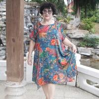 中老年人时尚连衣裙2018夏装新款加肥加大妈妈奶奶中长裙子 宝蓝喜上枝头666