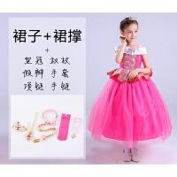 公主裙秋冬女童连衣裙儿童装冰雪奇缘艾莎爱莎爱沙礼服 +裙撑+六件全套饰品