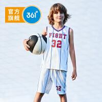 【开学季到手价:79.6】361度童装 男童套装儿童运动篮球套装 2019年夏季新品休闲套装字母透气篮球装N51921