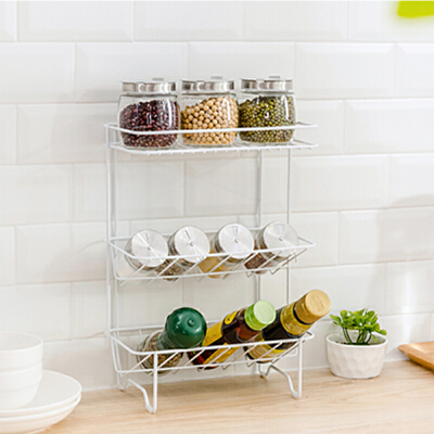 三层置物架厨房用品收纳架 厨具调味品架子落地调料架 植物盆栽置物架